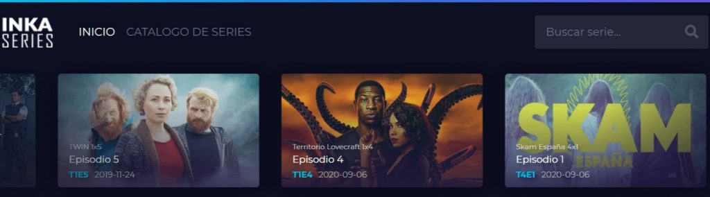 pantallazo de la página principal de la web para ver series y películas Inka Series