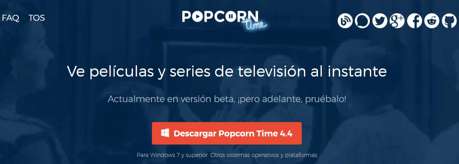 web para ver series online PopCorn Time