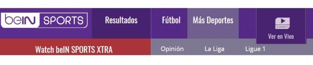 pantallazo de la portada de bein sports, la web para ver deportes online y fútbol en vivo