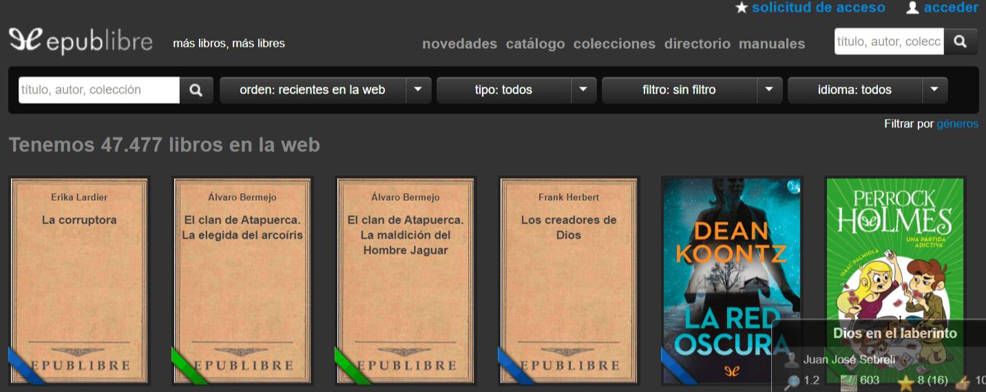 epublibre-org para descargar libros gratis en español