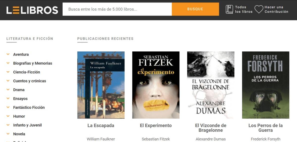 imagen de la web para descargar libros gratis en español, Lelibros.online